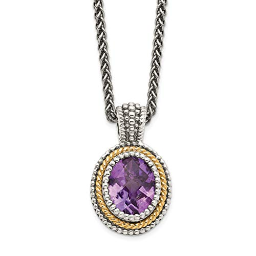 (Mireval Sterling Silver Two-Tone Rim Simulated Amethyst Oval Drop Pendant Necklace, 18