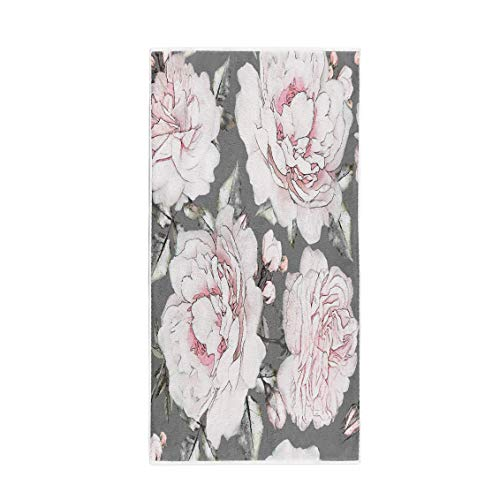 (Semtomn 14 x 30 Inches Bath Towel Flowers and Leaves on Gray Watercolor Floral Pattern White Soft Absorbent Travel Guest Decor Hand Towels Washcloth for Bathroom(One Side Printing))