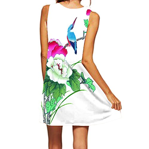 Honghu Vestido Sin Mangas Moda Impresión para Mujer Mini Printing Dress de Verano Verde