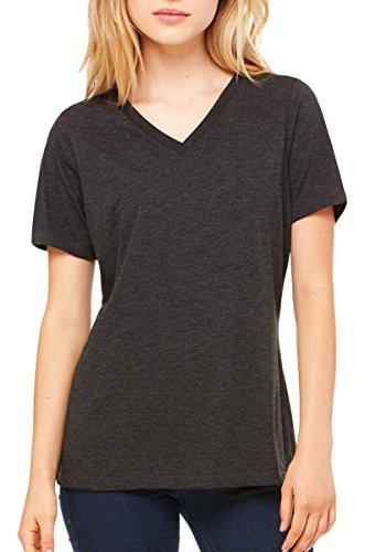 (Bella Canvas Relaxed Jersey V-Neck T-Shirt_Charcoal-Black Triblend_X-Large)