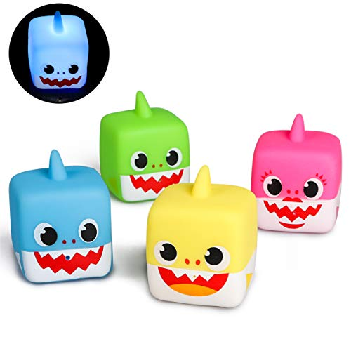 MALLMALL6 4Pcs Little Sharks Light Up Bath Toys Flashing Bathtub Toy Set Bathroom Floating Rubber Shark Squeeze and Squirting Water Toys for Toddler Preschool Shower Games Swimming Pool Birthday Party ()
