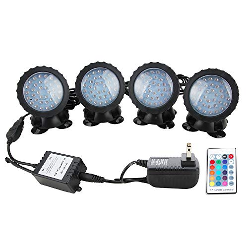 Senzeal Pond Lights RGB Color IP68 Waterproof 36 LED Spot Light with Remote Control for Garden Pond Fountain Lighting by Senzeal