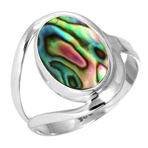 925 Sterling Silver Women Jewelry Natural Abalone Shell Ring Size 8