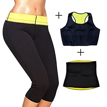 499868db63ba0 Buy MSE Women s Slimming Pants Capris Hot Thermo Neoprene Combo Set  Vests-  Pants-Belt Sweat Sauna Body Shapers Yoga for Weight Loss Pant Size   XXL  Online ...