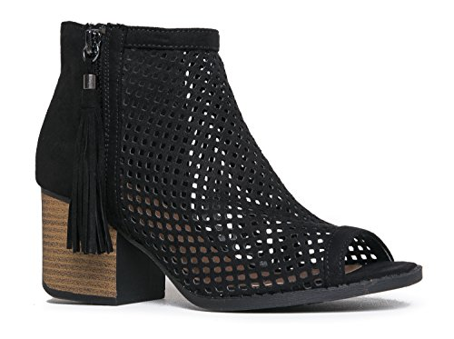 J. Adams Perforated Peep Toe Ankle Bootie, Black Suede, 8.5 B(M) ()