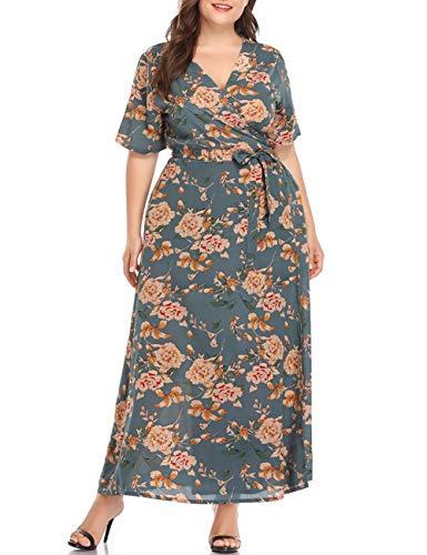 (PARTY LADY Women's Plus Size Short Sleeve Faux Wrap Floral Printed Maxi Dress Size 5XL Green)