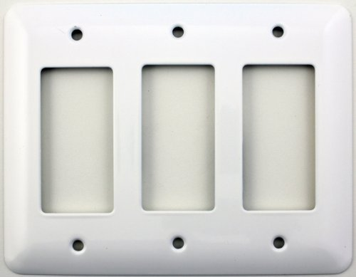 Mulberry Princess Style White Three Gang GFI/Rocker Opening Switch Plate