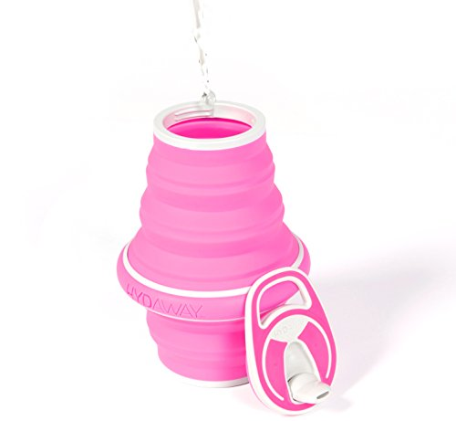 New! HYDAWAY Collapsible Pocket-sized Travel Water Bottle - 21 oz., Rose