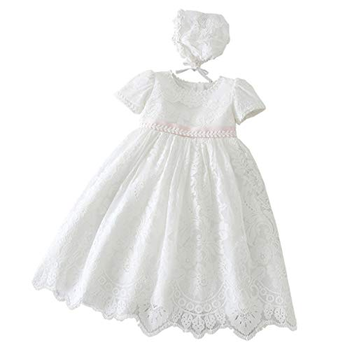 Baby Girls Embroidered Empire Waist Christening Gown Baptism Dress with Lace Bonnet Ivory Size ()