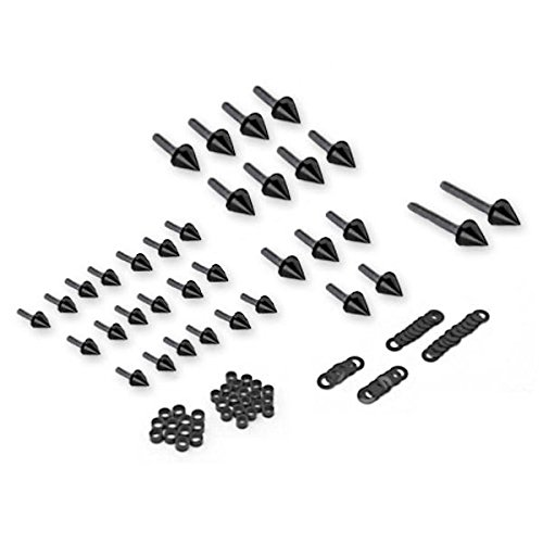 Krator Motorcycle Spike Fairing Bolts Black Spiked Kit For 2005-2007 Suzuki Hayabusa GSXR ()