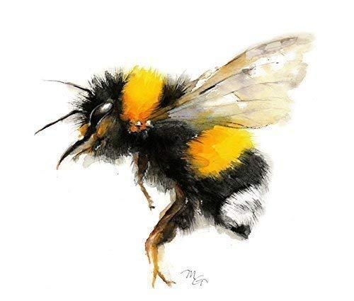 (Bumble bee Watercolor Print Dorm decor)