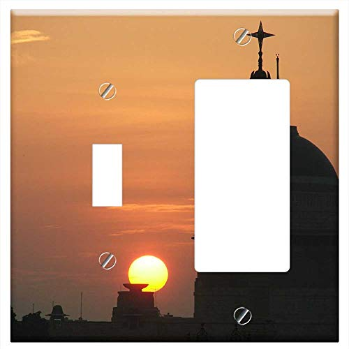 (1-Toggle 1-Rocker/GFCI Combination Wall Plate Cover - President House Rashtrapathi Bhavan Sunset Sk)