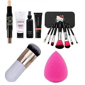 BTN Face Makeup with 07 Face Brush Multitype + 01 Face Matte Fixer + 01 Base Primer +01 Controler Stick +01 Foundation…
