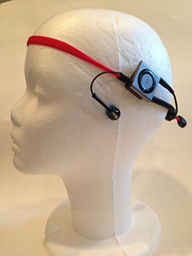 Bundle 2 items, Grey Waterproof iPod Shuffle and Red Multi Sport Audio Waterproof Headband Earbuds