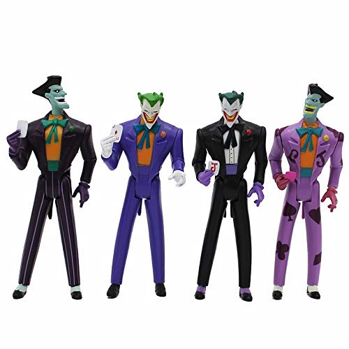 PAPWELL Set 4 Joker Action Figure 4.7 inch Hot Toys DC Legends Figures Batman The Dark Knight Suicide Squad Superhero Mini Toy Christmas Halloween Collectibles Collectable Gift Collectible for Kids
