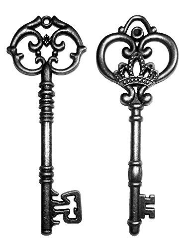 (20PCS Assorted Antique Large Collection Skeleton Keys, Vintage Finish Rustic Key for Wedding Decoration Favor (Black))