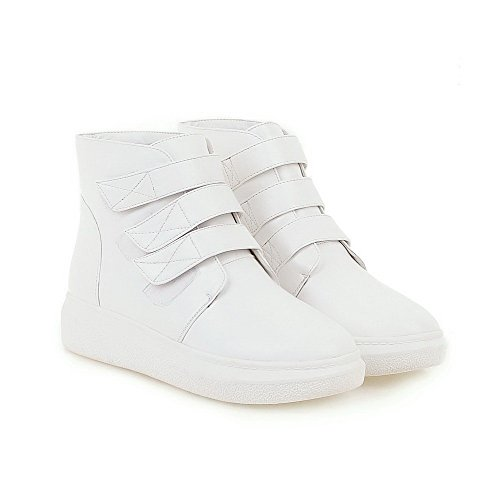 AllhqFashion Womens PU Low-Top Solid Hook-And-Loop Low-Heels Boots White dKVyKcOnV