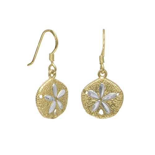 14 Karat Gld-Flashed Sand Dollar With Sparkle-Cut Accents French Wire Earrings Sand Dollars Are 13mm