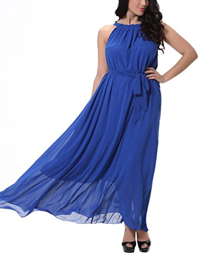 Feoya Vestido Largo de Mujer de Gasa para Fiesta Playa Verano Primavera Azul