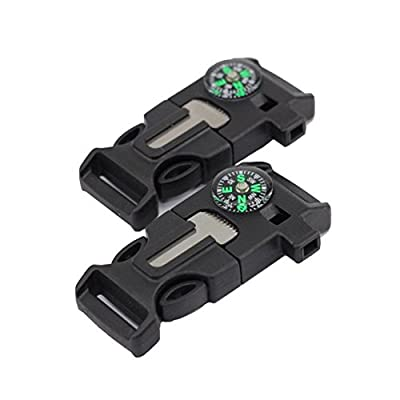 2pcs Side Release Buckle Whistle Compass Flint Fire Starter Scaper Emergency Knife For Paracord Bracelet, Outdoor Survival Hiking Camping