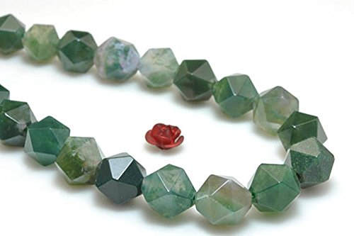 jennysun2010 Natural 6mm Green Moss Agate Gemstones 24 Faceted Polygons Loose Spacer Beads 1 Strand 15 Inches for Bracelet Necklace Earrings Jewelry Making Crafts Design Healing ()