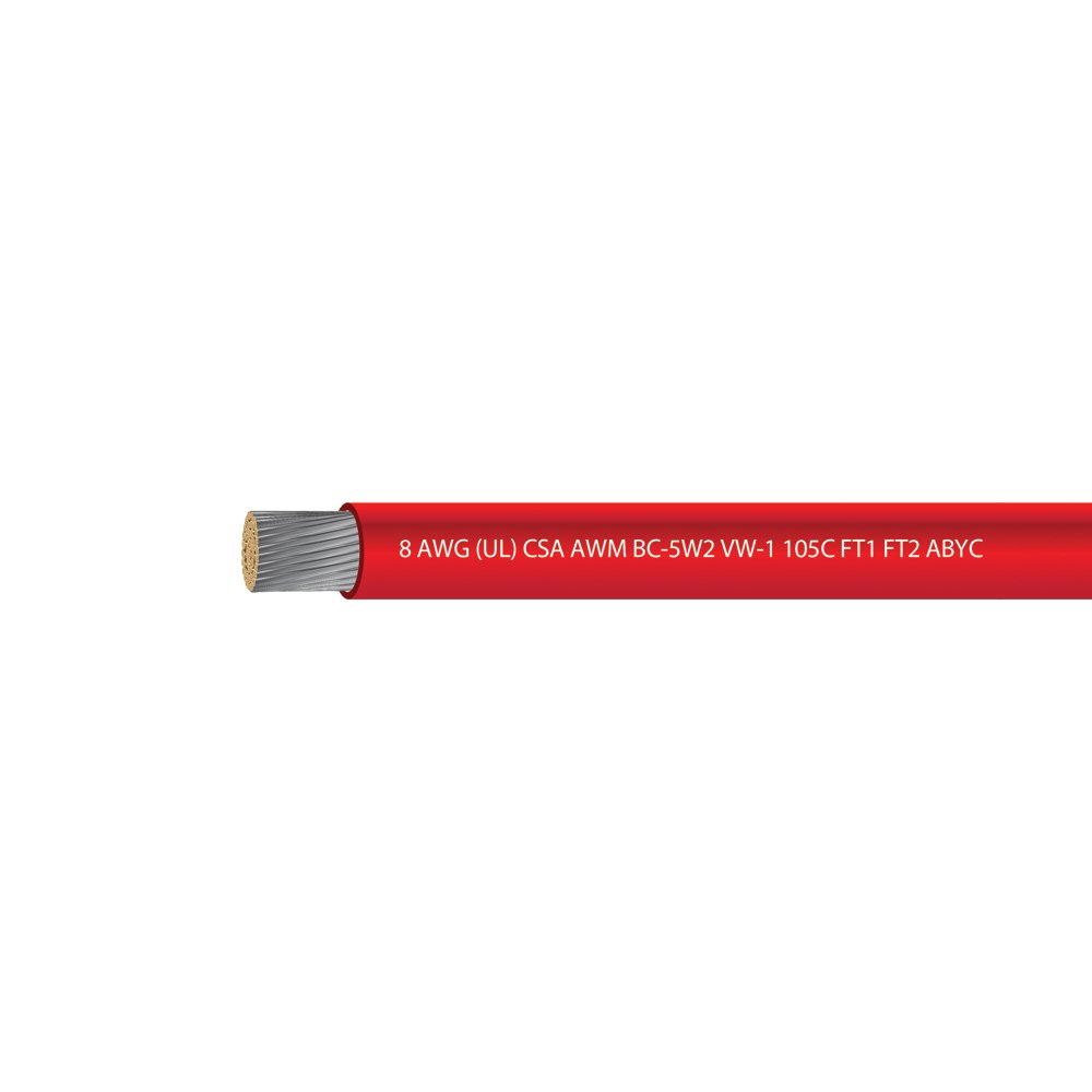 EWCS 8 AWG (UL) Marine Grade Tinned Copper Boat Battery Cable 600 Volts - Red - 50 Feet - Made in USA by EWCS