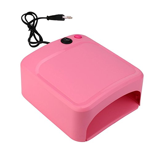 Nail Dryer Table - LANDFOX 36W UV Lamp Light Nail Dryer Manicure Gel With Timer (Pink)