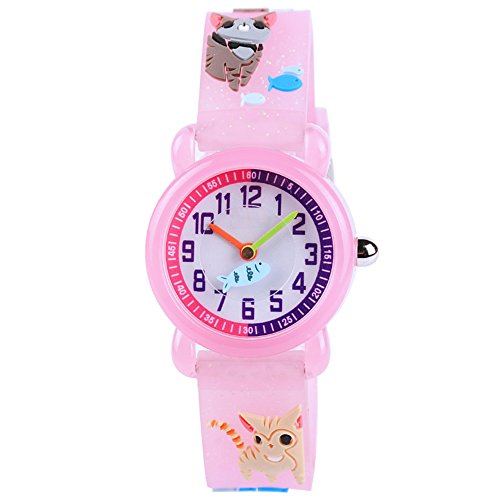 (Venhoo Kids Watches 3D Cute Cartoon Waterproof Silicone Children Toddler Wrist Watch Time Teacher Birthday Gift for 3-10 Year Boys Girls Little Child (Pink Cat Finish))