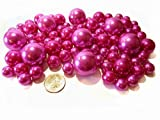 Hot Pink Pearls - Jumbo and Assorted Sizes Vase Fillers for Decorating Centerpieces - To Float the Pearls - Order with Transparent Water Gels