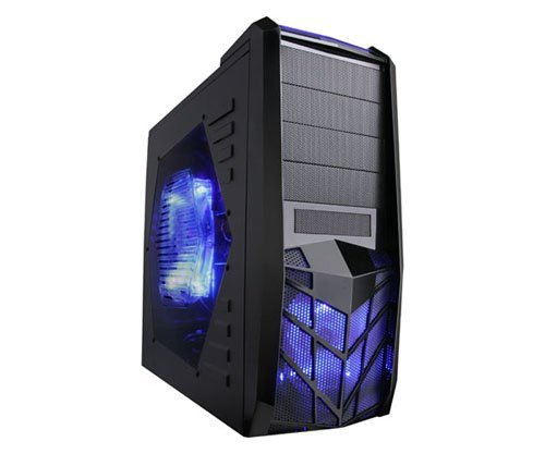 Apevia X-Trooper Blue ATX Mid Tower Gaming Case with 5 Fa...