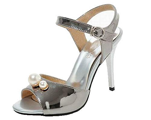 VogueZone009 Women Pu Buckle Open-Toe High-Heels Solid Sandals, CCALP015363 Silver