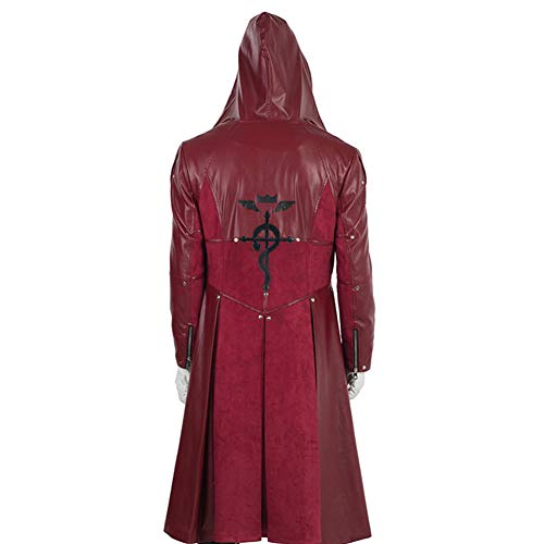 COMShow Fullmetal Alchemist Edward Elric Cosplay Costume Mens Halloween Red Leather Coat ()