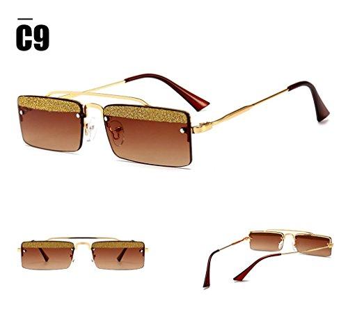 decoración con para Retro sol Cuadrado de Aviador brillante C9 mujer Gafas de ATNKE pieza q7TY8gxwY