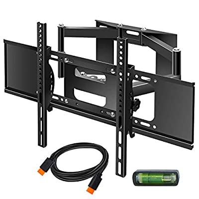 "WHLZD TV Wall Mount Bracket - Full Motion Dual Swivel Articulating Arm for most 32-70 Inches LED, LCD, OLED and Plasma Flat Screen TVs w/VESA patterns up to 600 x 400-16"" Extension, with HDMI Cable &B"