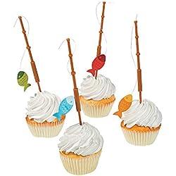 Fun Express - Little Fisherman Fishing Pole Picks for Birthday - Party Supplies - Serveware & Barware - Picks & Stirrers & Parasols - Birthday - 25 Pieces