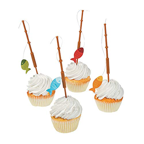 Fun Express - Little Fisherman Fishing Pole Picks for Birthday - Party Supplies - Serveware & Barware - Picks & Stirrers & Parasols - Birthday - 25 Pieces ()