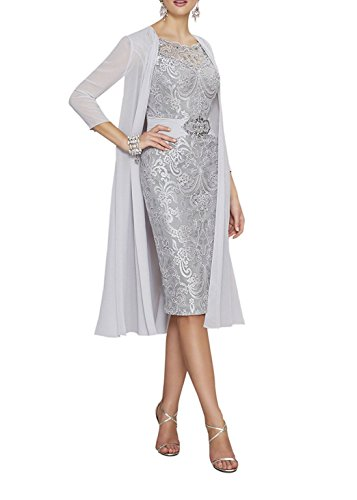 Women's Knee Length Lace Chiffon Mother of The Bride Dress with Jacket Formal Gowns Silver US24W