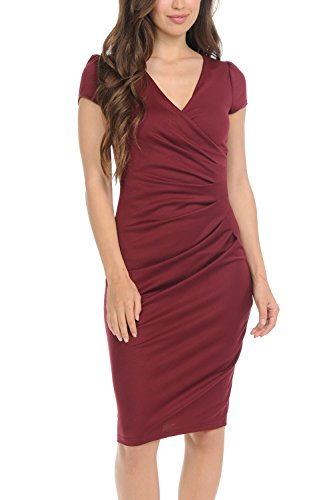 Auliné Collection Womens V-Neck Zip Up Work Office Career Side Wrap Sheath Dress Burgundy 3XL