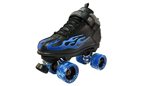 Sure-Grip Rock Flame Skate Black with Blue Flame sz 6