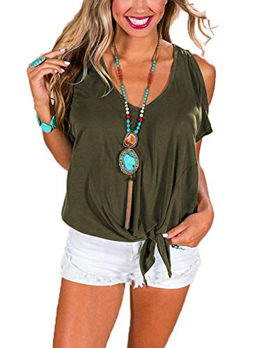 Queensheero Cold Shoulder Tops for Women,Women's Summer Bat Short Sleeve V Neck Dolman Top with Front Tie Army Green,L -
