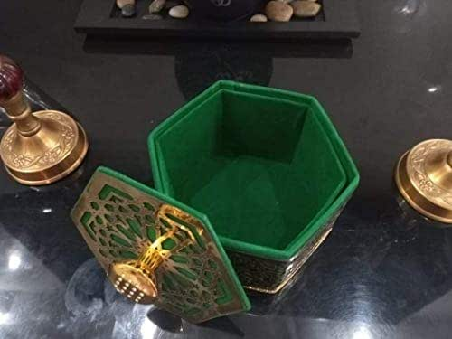Moroccan green box decorated with copper for jewelry or interior decoration Oriental handmade