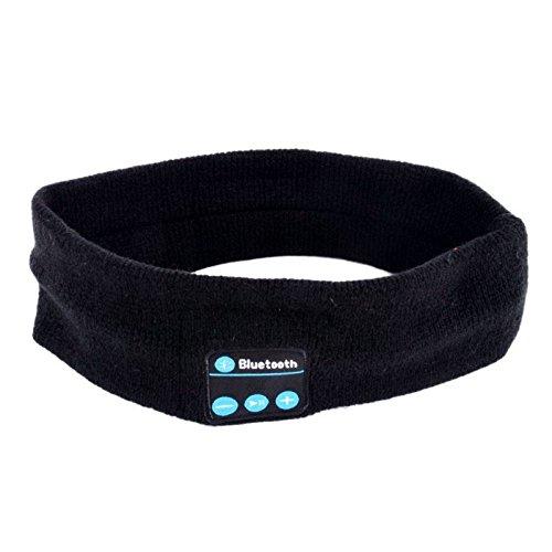 Wireless Bluetooth Stereo Headphone Speaker Sleep Headset Sports Headband Mic (BLACK)