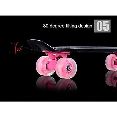 OFFA Complete Skateboard Skateboards 22x6 Inch Retro Plastic Street Cruiser Portable, with Flash Wheels,for Beginner Kids Boys Girls Teens (Color : E): Home & Kitchen