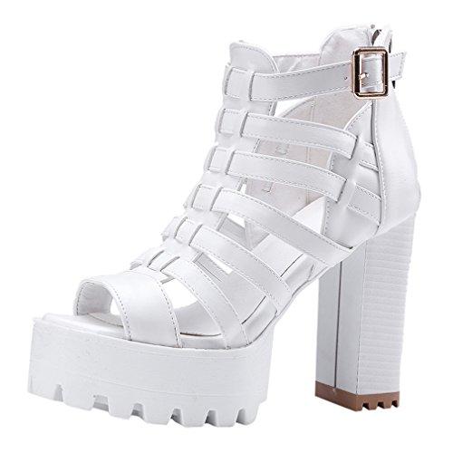 YE Women's High Block Heel Platform Gladiator Sandals Zipper Open Toe Summer Shoes White ML1m0ADC