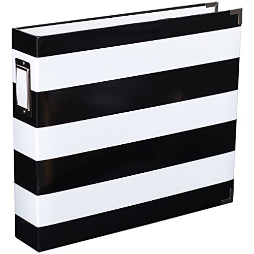 Scrapbook Album 12x12 Chipboard (American Crafts Project Life Printed Chipboard D-Ring Album, 12 by 12-Inch, Black and White Stripe)