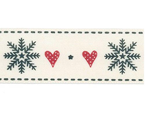 Berisfords Snowflake Stitch: 4m x 15mm: Red/Black