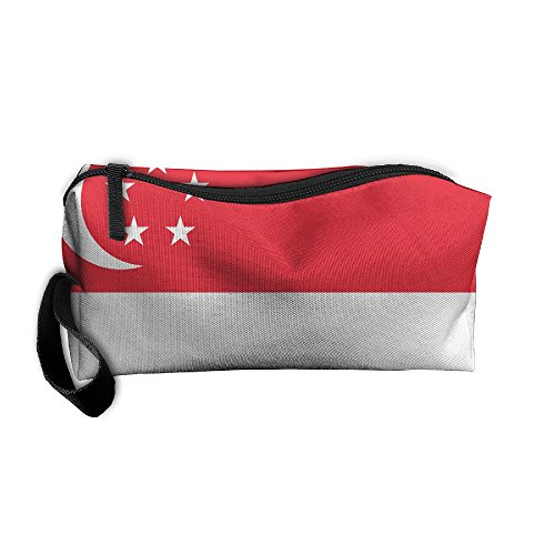 Cosmetic Bag Flag Of Singapore Toiletry Bag Portable Makeup Pouch Travel Hanging Organizer Bag Storage - Apparel Singapore Sports