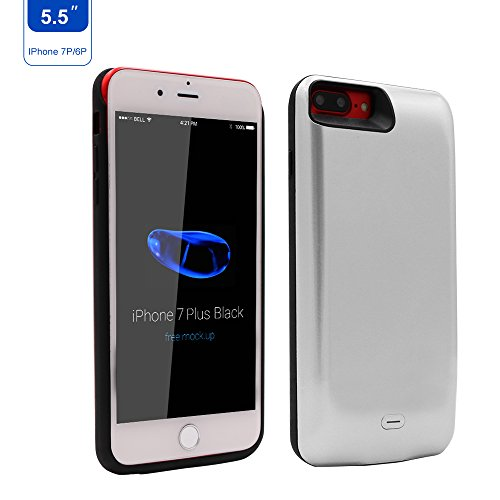 (iPhone 6 Plus/iPhone 7 Plus/iPhone 8 Plus Battery Case Charger,7500mAh The Backup Charging Case with Lightning to USB Cable and Tempered Glass Screen Protector by Epuirie(White))