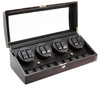 Ebony Wood Finish 8 Watch Winder With 9 Additional Watch Storage Spaces, Four Turntables With 4 Program Settings.