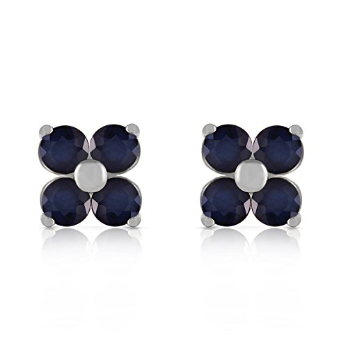 - 1.15 CTW 14k Solid White Gold Natural Sapphire Stud Flower Earrings